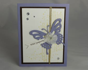 Stampin Up Handmade Sympathy Greeting Card: Condolence Card, Thinking of You, Funeral, Butterfly, Gorgeous Grunge Condolences, Grief