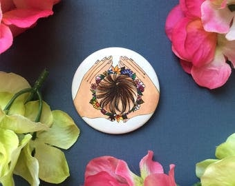 """2"""" CROWN button/ pin/ feminist pin/ birth art/ midwife/ gift for midwife/ doula"""