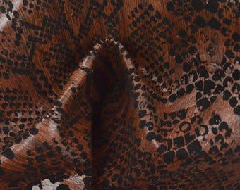 "Fashion Burmese Rosewood Snake Print Leather Pig Hide 12"" x 12"" Project Piece 1 1/2 oz TA-56929 (Sec. 5,Shelf 2,B)"