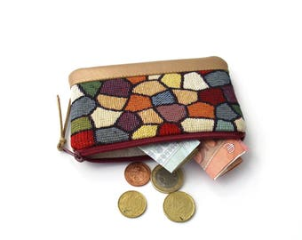 Change Purse, Mini Coin Purse, Zip Coin Purse, Multicolored Pouch, Zipper Pouch, Metallic Gold Color, Gobelin Fabric, Mosaic Pattern