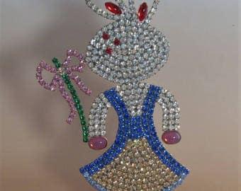 SALE Vintage Easter Bunny Rabbit Free Standing Czech Rhinestones