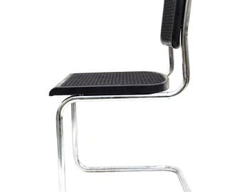 Vintage Modernist Matte Black & Chrome Tubular Steel Cantilever Chair || Chic Bauhaus Style Desk or Occasional Chair