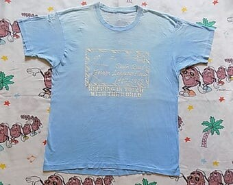 RESERVED Vintage 80's South Quad Foreign Language House T shirt, size Medium 1987 88 soft and thin Burnout threadbare