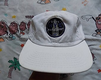 Vintage 90's Nike NYC Marathon Strap Back Hat, Adult Size 1996 USA made Dad Hat New York