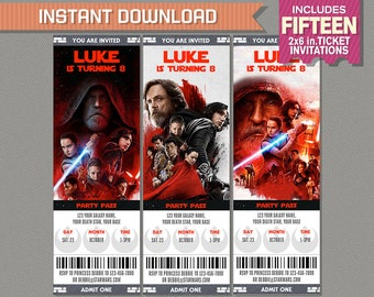 Star Wars The Last Jedi Ticket Invitations - Star Wars Party - INSTANT DOWNLOAD - Edit and print at home with Adobe Reader