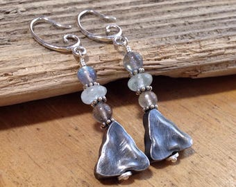 Oxidized Silver Triangle Earrings - Labradorite, Aquamarine + Sterling Silver Earrings - March Birthstone - River of Beauty Designs