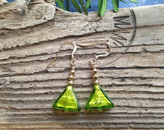 Green Murano Glass Triangle Earrings, Minimalist Green Gold Earrings, Venetian Glass Dangle Earrings, Gift Under 30, River of Beauty Designs