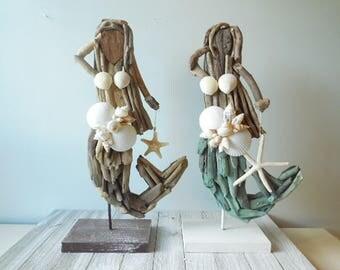 SeaShell Driftwood Mermaid , Nautical Home Decor. Mermaid with shells-Mermaid Art-Driftwood Art