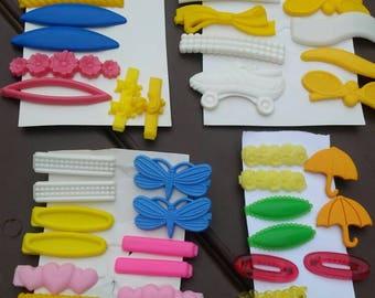 Vtg 70's Plastic Hair Barrettes 48 Pieces
