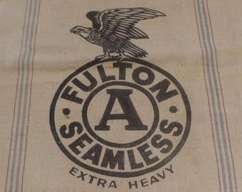 Canvas Sack, Fulton Seamless, Vintage Feed Bag, Eagle Graphics, Vintage Textile