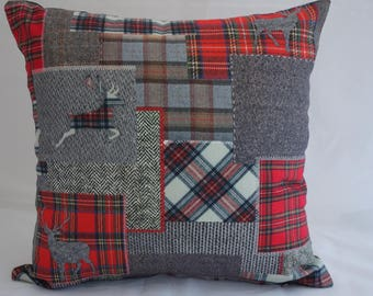 Pillow - Patchwork design feature cushion, complete with cushion pad, zip fastening