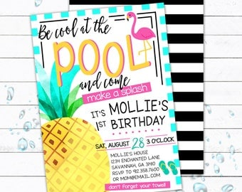 Pool Party Invitation, Pool Party Invite, Tropical Birthday, Pineapple Party,  Kid Birthday