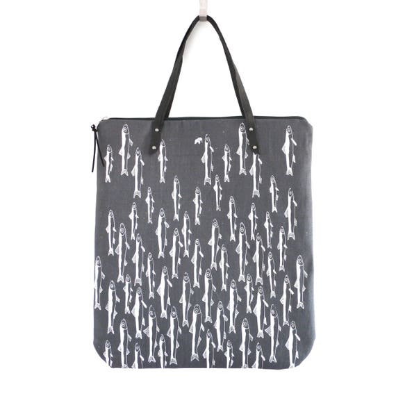 """Light"" grey and white Shopping bag, anchovies print"