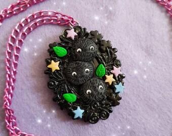 dust bunnies cameo necklace fimo spirited away totoro myazaki
