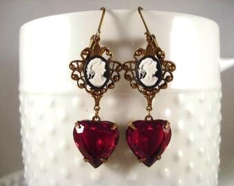Red Heart Earrings Cameo Earrings Victorian Earrings Heart Jewelry Victorian Inspired Jewelry Heart Earrings Valentine Gift