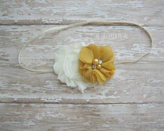 Mustard headband, ivory and mustard headband, M2M Matilda Jane Enchanted Afternoon dress, mustard and cream headband, cream and mustard
