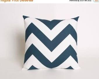 Summer Sale Navy Throw Pillow Cover, Blue Chevron Accent Pillow, 18 in x 18 in, Navy Chevron Pillow Cover, Blue Pillow Sham, Navy Zippy Pill