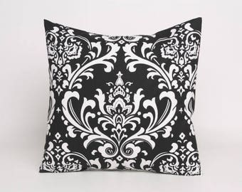 ON SALE Black On White Damask Pillow Cover In Premier Prints Ozborne Pattern Designed To