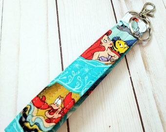Little Mermaid  Wristlet Key Fob / Cotton / Quilted Keychain / Handmade