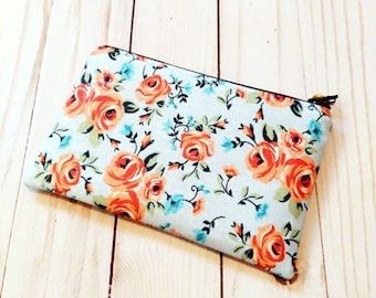 Peach Floral on Blue Small Zipper Pouch