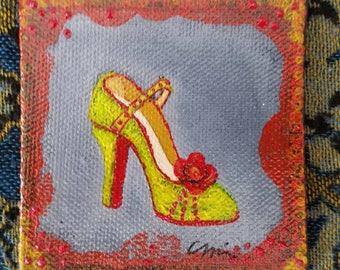 "3""×3"" Original Dainty Vintage Shoe Painting"
