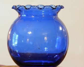 Fluted Rim Blue Glass Bowl