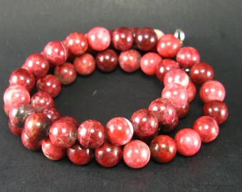 """Rare Thulite Necklace Beads From Norway - 19"""" - 8mm Round Beads"""