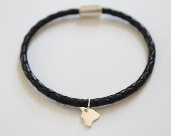 Leather Bracelet with Sterling Silver Hawaii Charm, Hawaii State Bracelet, Hawaii Bracelet, Hawaii Charm Bracelet, Hawaii Vacation Bracelet