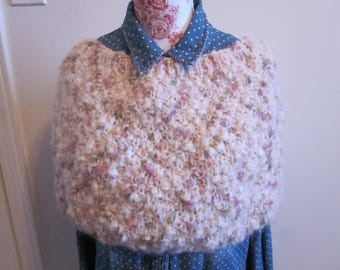 White mohair wool wrap/neck warmer/knit accessories/women multi color shawl/accessories tricotes