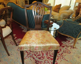 MAHOGANY CHAIR with Silk Upholstery