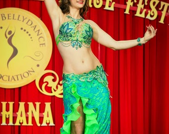 Belly dance costume. Sale!!! Turquoise-lime green professional belly dance costume, oriental dance costume