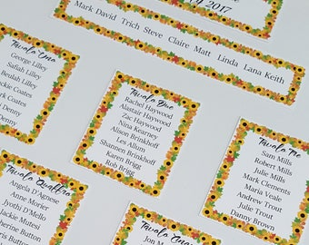 personalised wedding table plan, summer sunflowers