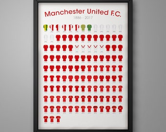 Manchester United History 1886 - 2017. Football Poster Illustrated in the UK.