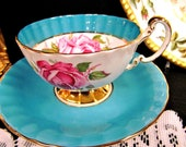 AYNSLEY tea cup and saucer blue and pink CABBAGE ROSE teacup oban shape