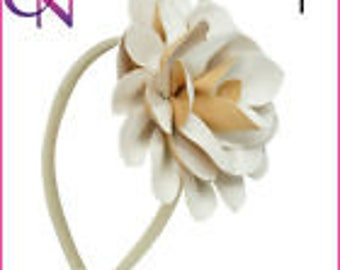 Headband hair accessory off white leather flower pom