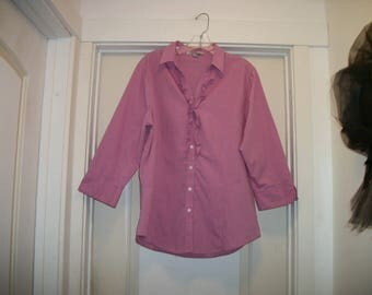 Retro 90s Does Pretty Country DUSTY ROSE RUFFLED Blouse, 3 Quarter Sleeves w Cuffs, Lg