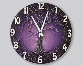 Life of tree Home decor WALL CLOCK, Life of Tree painting, purple wall clock, purple Tree painting, Unique clock, purple clock,