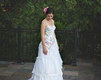 NEW!~Bavarian Wildflower Embroidered Bridal Gown~ Bavarian Wildflower Embroidered Wedding Gown~ Embroidered Corset Wedding Gown~