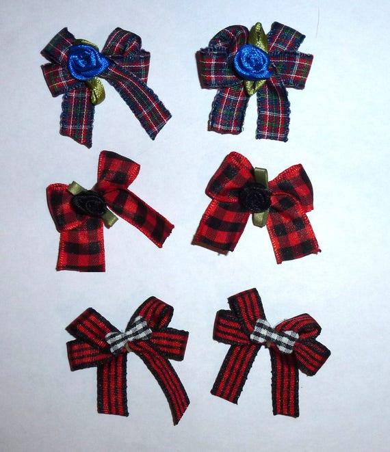 Puppy Bows ~6 black red black boys EVERYDAY BOWS Yorkie Maltese Shih Tzu ~Usa seller (fb81)