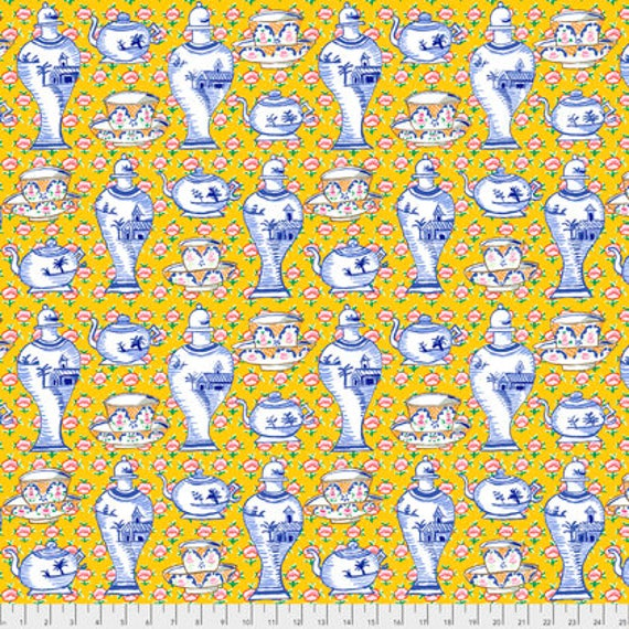DELFT POTS YELLOW PWGP165 Kaffe Fassett Sold in 1/2 yd increments