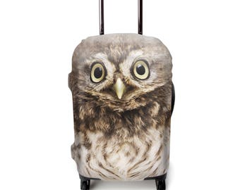 Luckiplus Owl Luggage Cover Suitcase Protector Fits 18-32 Inch Luggage