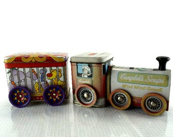 Vintage Campbell's Soup Tin Train Engine and Circus Car