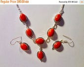 "COUNTDOWN TO SPRING Awesome Italian Red Coral Necklace/Earring Set  Handmade 925 Sterling Silver Setting 20"" Necklace 1.5"" Earrings"