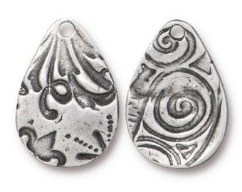 Large FLORA Teardrop Charms, Tierracast Qty 4 Antique Pewter, 19.7mm, Dulce Vida Double Sided Pendants Silver Floral, Valentines Day Jewelry