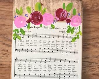 Vintage hymn wood sign/ foral