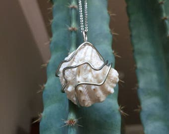 Hand Wire Wrapped Beach Shell Pendant Necklace Gift, Keychain