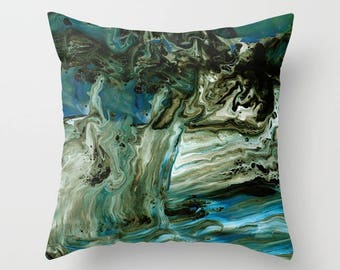 Blue and Brown Marble decorative Throw Pillow,  paint swirls,  abstract, modern, sophisticated,  beautiful chic decor