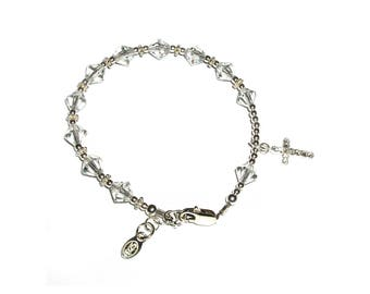 Sterling Silver First Communion Rosary  Bracelet with Swarovski Crystals and Sparkling Cross Charm (029)