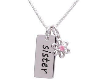 "Sterling Silver ""Sister"" Charm Necklace from our Silver Stories Collection with a Daisy Charm for Sister Gift (BCN-SS-Sister)"