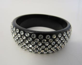 Vintage Black Rhinestone Bangle